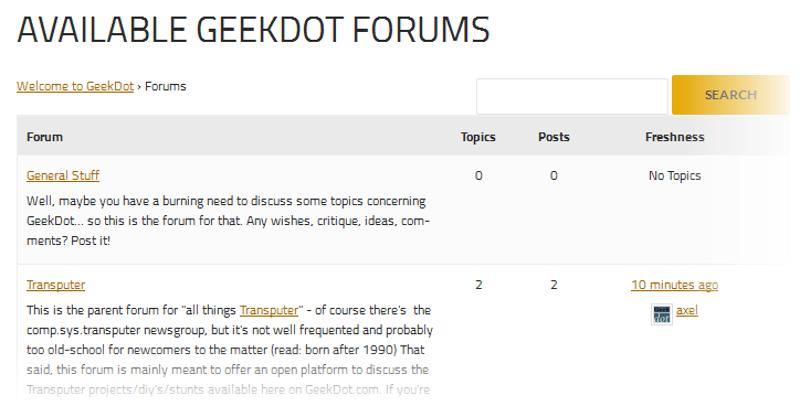 Geekdot got a forum!